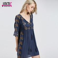 Jastie Starlight мини-платье в стиле бохо шикарное цветочное вышитое женское платье с вырезом декольте с галстуком сексуальное платье Летнее vestidos 5808