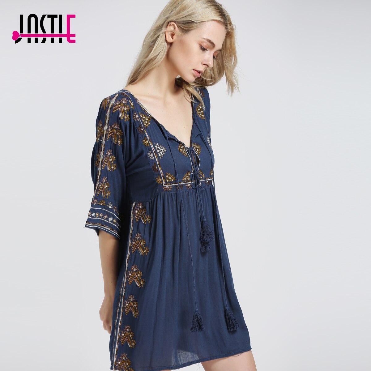 Jastieスターライトミニドレス自由奔放に生きるシックな花刺繍女性ドレス切り抜きとネクタイセクシーなドレス夏vestidos 5808  グループ上の レディース衣服 からの ドレス の中 1