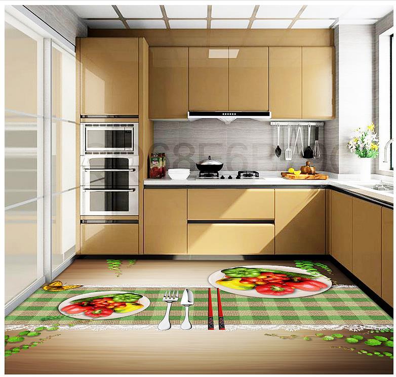 3D wall murals wallpaper floor 3D stereoscopic floor kitchen  Western Fruit PVC waterproof floor  self-adhesive floor