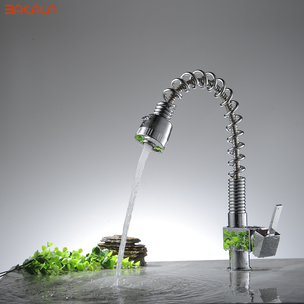 BAKALA Wholesale And Retail Chrome Finished Pull Out Spring Kitchen Faucet Swivel Spout Vessel Sink Mixer Tap CH-8010 good quality wholesale and retail chrome finished pull out spring thermostatic kitchen faucet swivel spout vessel sink mixer tap