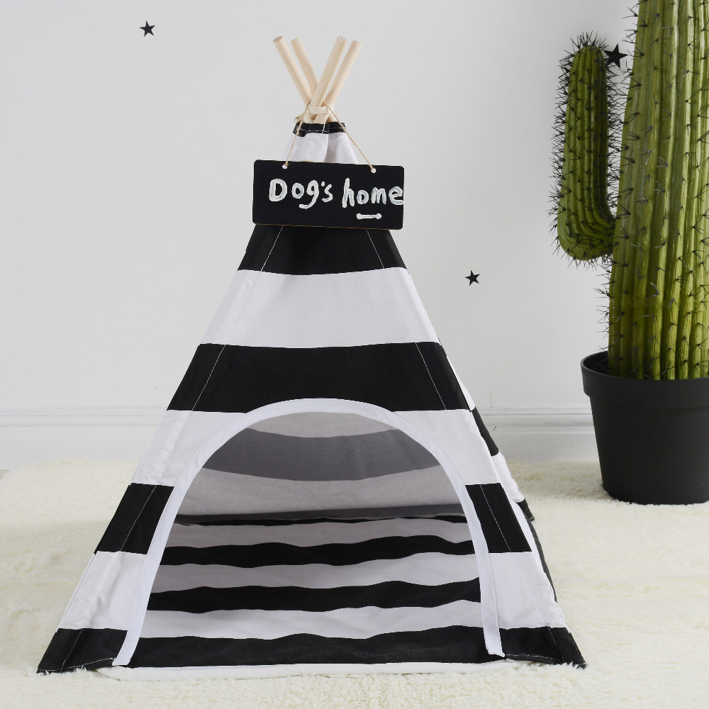 LoveTree Pet Teepee Tent Dogs Cats Bed Room Black and White stripe Tent