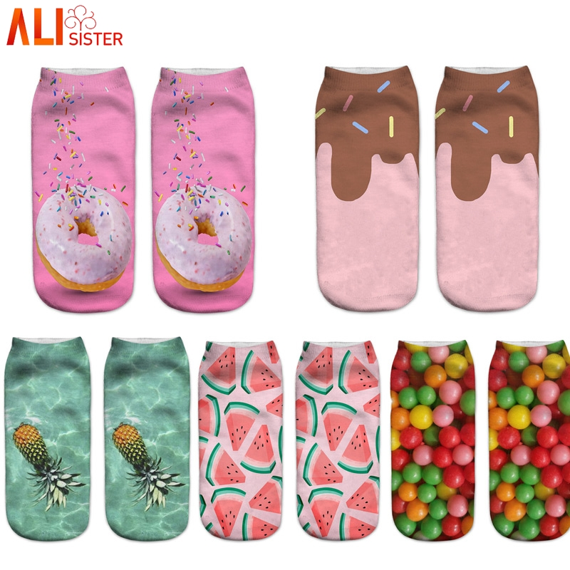 Alisister 1pcs Cute Socks 3D Cake Pattern Novelty Funny Socks Casual Fashion Material Comfortable Breathable Pink Girl Boy Socks