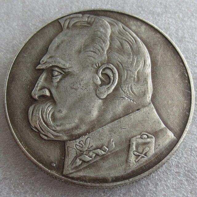 Heißer Verkauf 1939 10 Zl Pilsudski Polen Silber Münze Kopieren