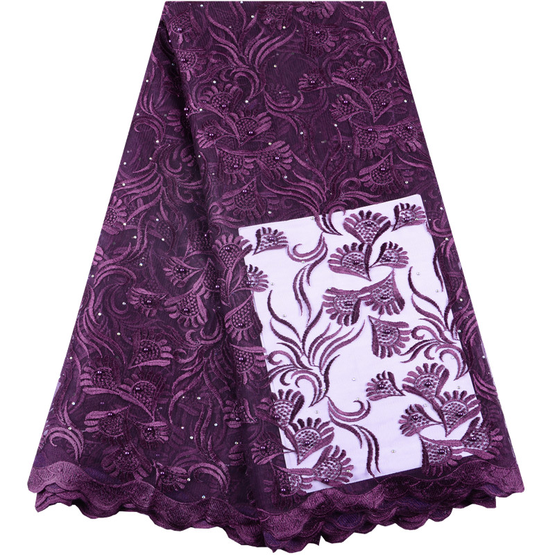 Beautiful French lace fabrics Wine red tulle lace embroidery fabric with beads stones Latest style African