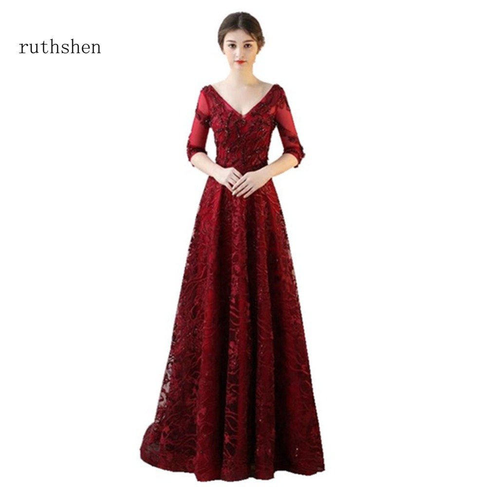 Detail Feedback Questions about ruthshen 2018 Evening Dresses Long Beaded  Appliques Flowers 3 4 Sleeves Ruby Red Beautiful Party Prom Dress Cheap  Robe De ... 8757c43fc199