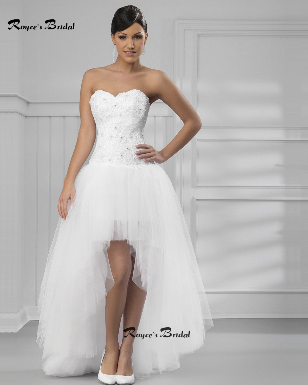 Simple Sweetheart Neckline Corset Short Frong Long Back Wedding Dresses Appliqued Tulle High Low Robe De Mairee In From Weddings Events On