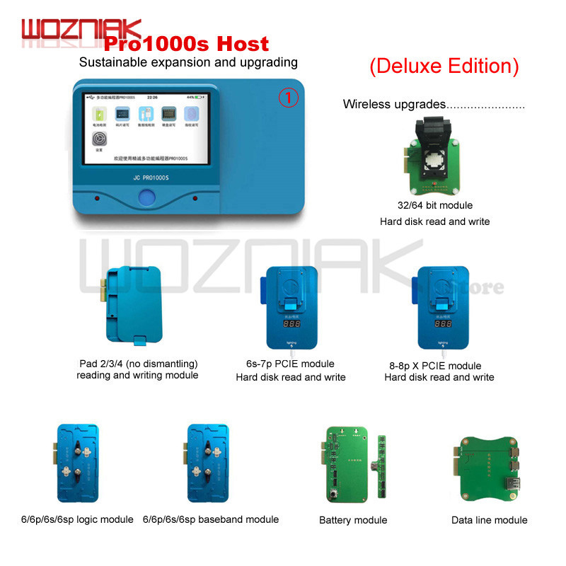 Wozniak JC Pro1000S Multi-Functional IC Chip HDD Programmer PCIE NAND Test Read for Iphone 8P X 7 7P 6 6SP 6S for ipad original 4in1 for iphone hdd nand ic test socket hard disk ic test good or not good 6s 6sp 7g 7p memory chip ic test tools