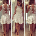 Robe Cocktail Girls White Lace Cocktail Dress A-Line Scoop Sheer Cheap Prom Party Gowns For Junior Dress