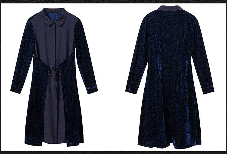 Inverno Sizexxxxxl Vestito Patchwork Giù Oro Il Girare Blu Signore Autunno Plus Velluto Collare 2017 Coltivazione Vestido Moda Casuale Elegante 8ITSTEq