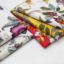 1 meter Flower Print Fabric Yellow Faux Linen Cloth Upholstery for Sewing Sofa Chair Seat Pillow Cover Textil Material Furniture