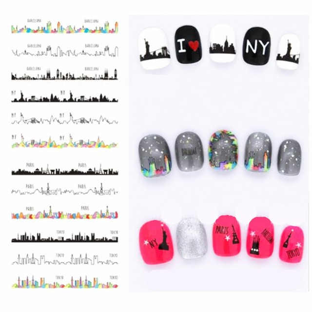 1 Sheet City Nail Art Stickers Water Decals Transfer Manicure Marble Design Sticker