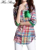 Women Summer Half Sleeve V Neck Plaid Shirt Long Design Print Irregular Chiffon Blouse 3xl 4xl