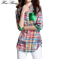 Women Summer Half Sleeve V Neck Plaid Shirt Long Design Print Irregular Chiffon Blouse 3xl 4xl