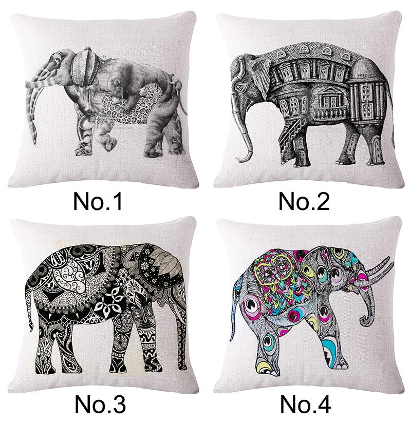 Printed Creative elephant  Linen Office Decorative Throw Pillows 45×45 coussin Home decorativi  pillowcase almofada