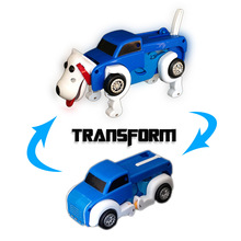 2in1 Amazing 14cm Cool Automatisk Transform Dog Car Vehicle Clockwork Vind opp leketøy Xmas Fødselsdag Gift for barn Kids Boy Girl