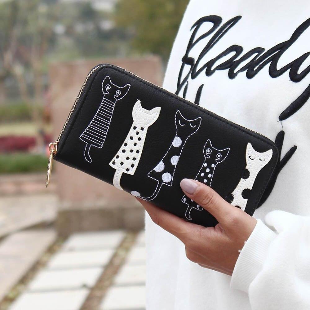 Luxury Cat Design Long Wallet Black