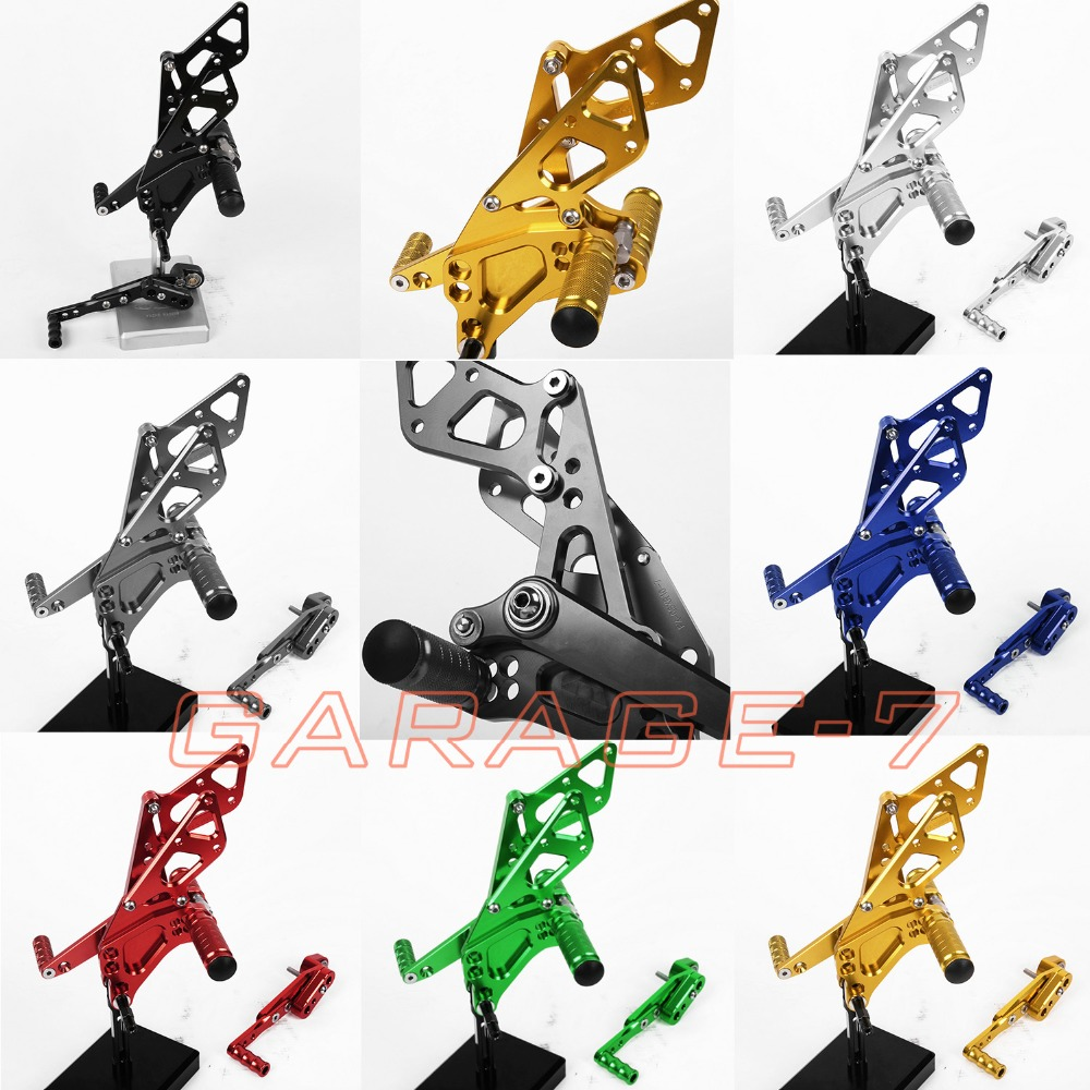 For Suzuki GSXR 1000 2009-2014 Foot Pegs Rear Sets Blue Hot Sale High Quality Motorcycle Accessory CNC Adjustable Positions 2013