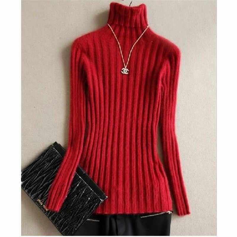 여성 marten 벨벳 밍크 스웨터 터틀넥 짧은 슬림 중간 길이 디자인 기본 니트 열 캐시미어 스웨터 여성 겨울