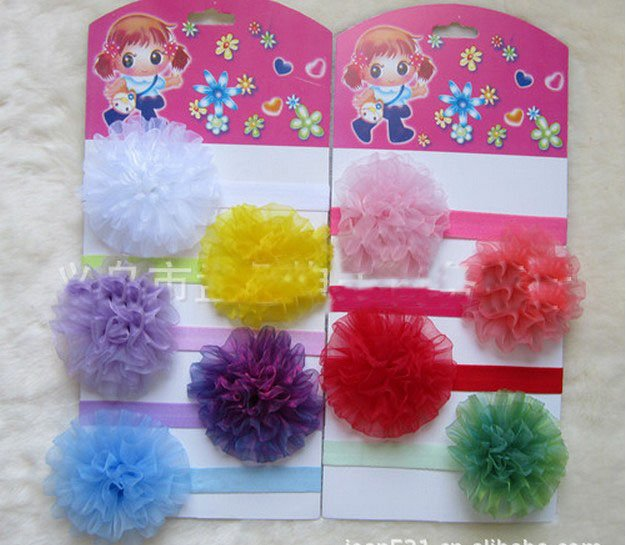 50pcs Fine hair band tire gauze carnation tenia hair ornament yarn disc spend hair band
