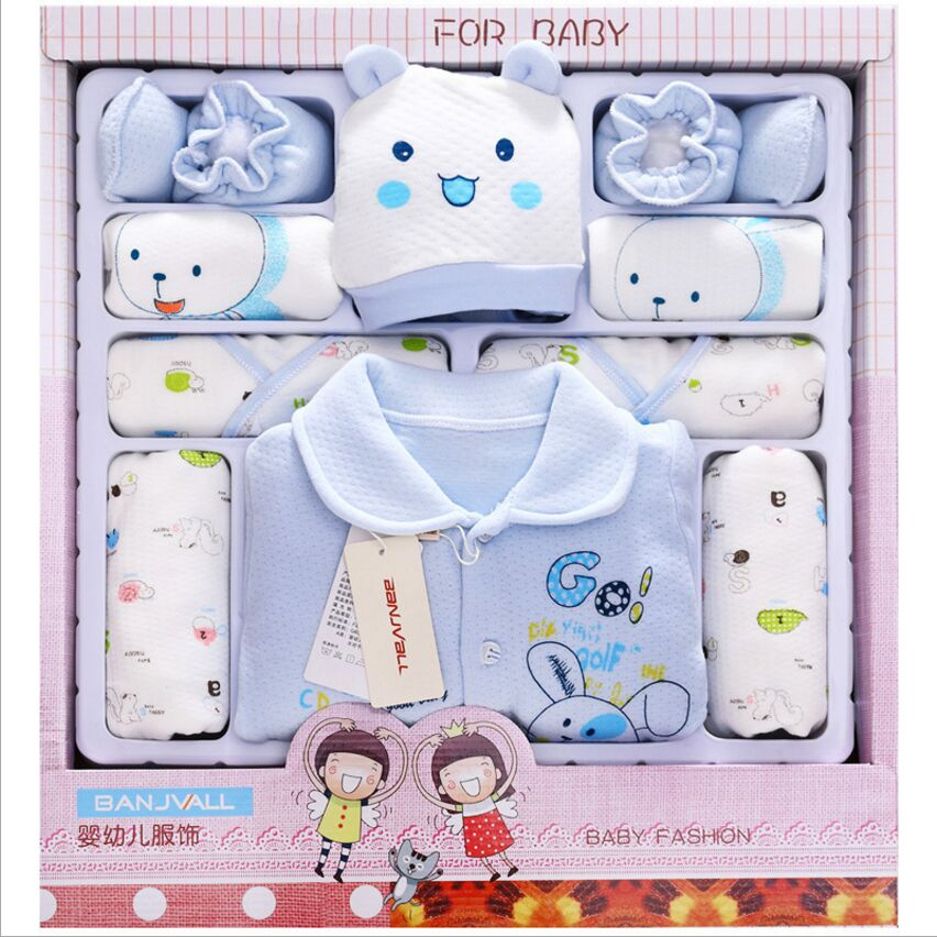 100% Cotton Fashion Baby Autumn And Winter Newborn Baby Sets Long Sleeve Thick Baby Clothes Baby Blue Yellow Pink 21Piece baby girl clothes baby winter suit spring and autumn warm baby boy clothes newborn fashion cotton clothes two sets of underwear