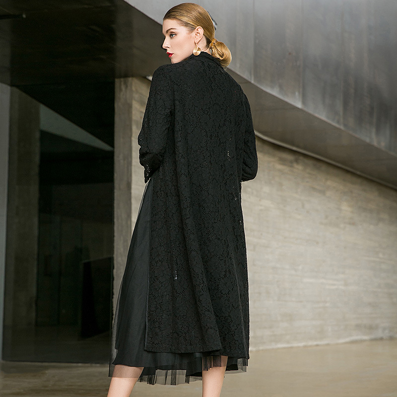 Lace embroidery high split single breasted long trench coats 2018 new turn down collar women autumn thin trench coats