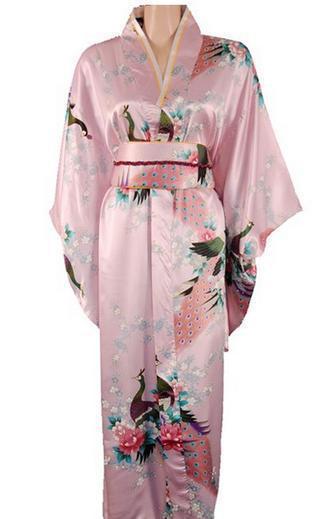 High Quality Pink Japanese Women's Silk Kimono Traditional Yukata With Obi Printed Evening Dress Novelty Costume One size H0028