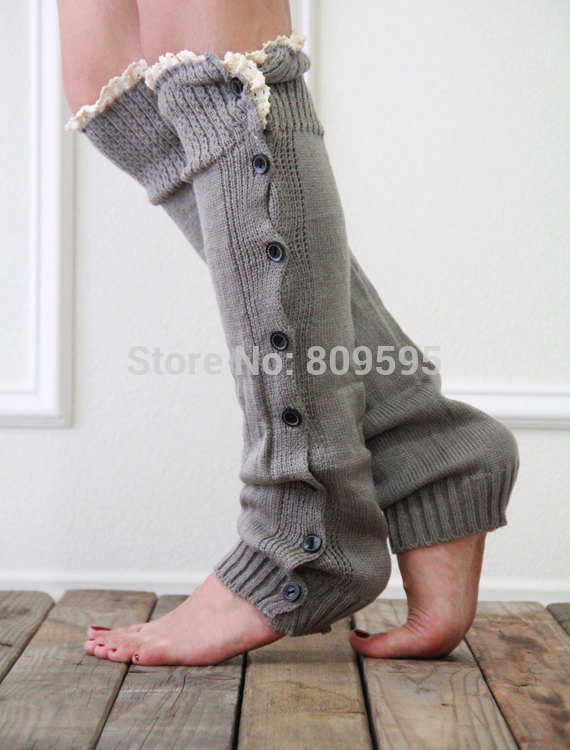 Womens Winter Christmas Diamond Stripe Knee High Leg Warmers Leggings Boot Socks
