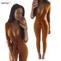 Camurça de Couro Bodycon Jumpsuit Romper 2016 V Profundo Neck Lace Up Outono Inverno Preto Sexy Bodysuits Partido Mulheres Macacões Macacão