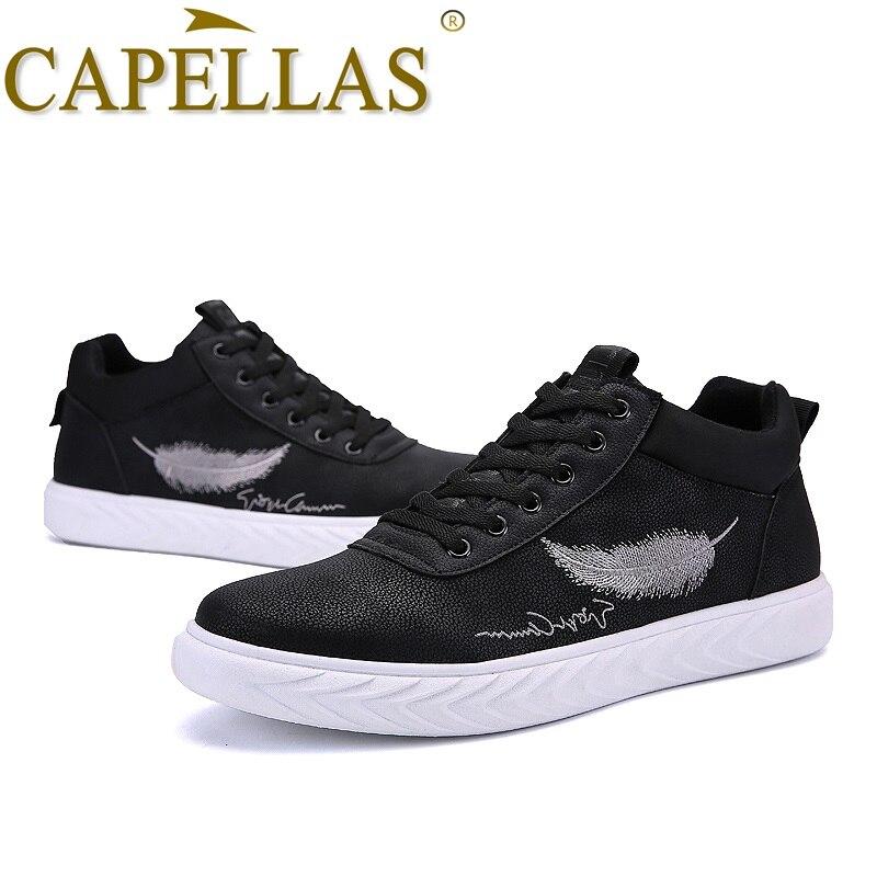 CAPELLAS Fashion Brand Men Leather Shoes Mens Fashion Casual Shoes Breathable Sport Designer Men`s Leather Shoes Size 39-44