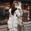 2016 Coréia Moda Feminina Outwear Parka Quente Grosso Oversize Retro Com Capuz de Pele De Pato Para Baixo Casaco de Inverno Mulheres Plus Size