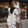 2016  Korea Fashion Female Outwear Thick Warm Parka Oversize Fur Duck Down Winter Coat Women Retro With Hood Plus Size
