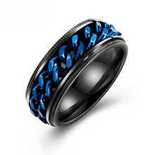OLOEY Punk Mens Ring Cool Fashion Titanium Steel Male Finger Rings Casual Blue Rotatable For Boyfriends Gifts