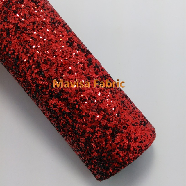 Mq003 30x134cm Red Chunky Glitter Leather Fabric For Making Bows Shoes Handbags And Wallpaper Party Decoration