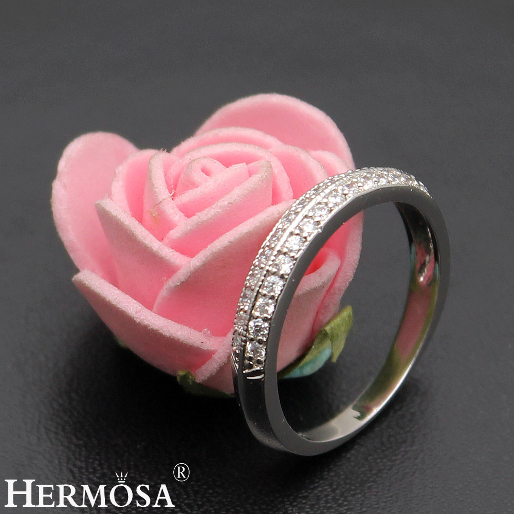 HERMOSA BIG PROMOTION White Zircon Shiny Beauty 1 Pair Rings Jewelry ...