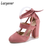 Lucyever Fashion Thick High Heels Cross Straps Women Party Pumps Summer Faux Suede Lace Up Round