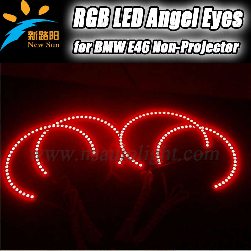 For BMW e46 3 series non-projector RGB led angel eyes ring 5050SMD 2x131mm,2x 145mm color changing headlight angel eyes mp620 mp622 mp625 projector color wheel mp620 mp622 mp625