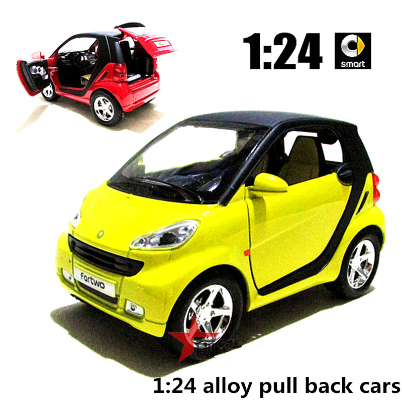 1:24 alloy pull back cars,high simulation Smart model,metal diecasts,toy vehicles,musical & flashing,free shipping