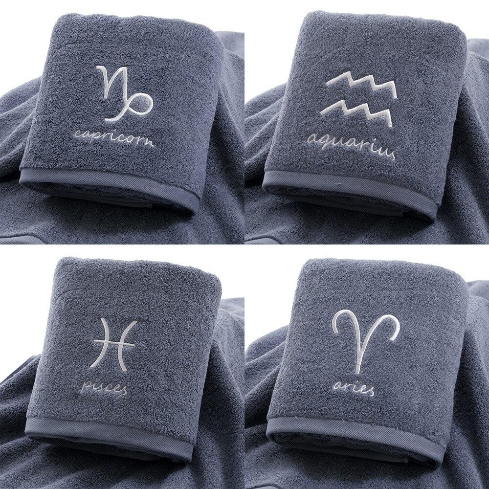 Toalha de algodão grosso conjunto rosto toalhas banho chuveiro doze constelações bordado grande casa banho para adultos