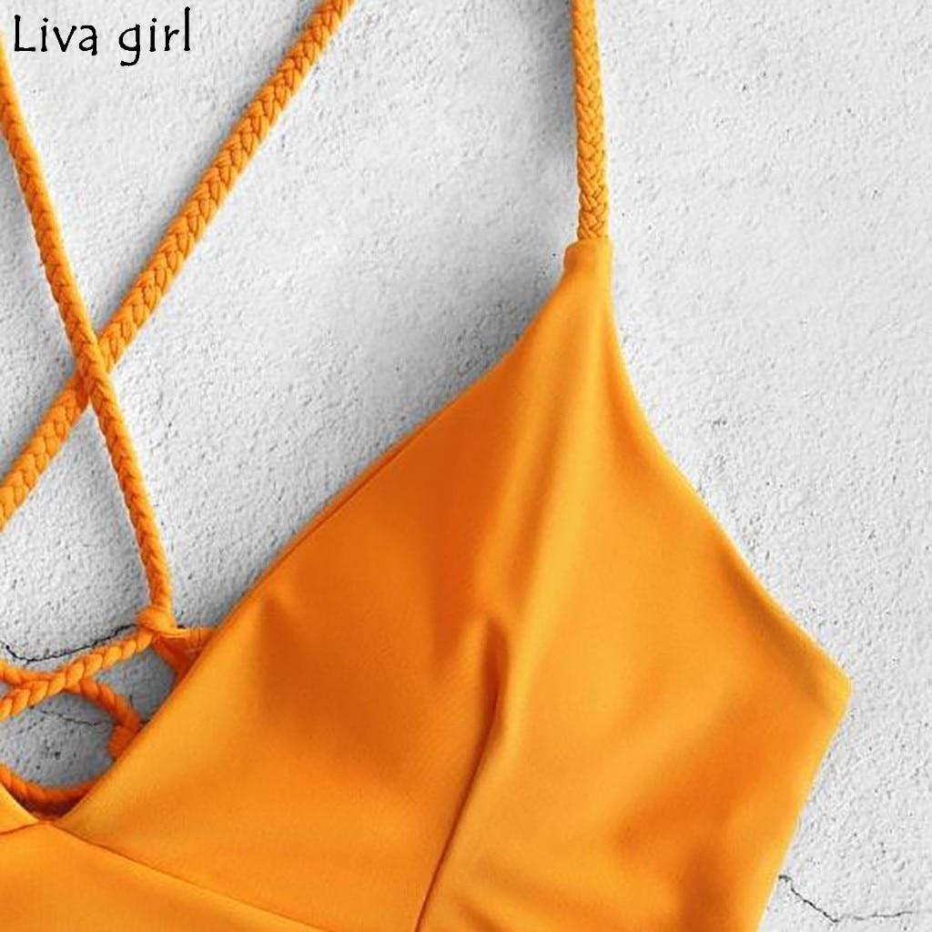 Liva girl Bikini Low Waisted Push-Up Two-Piece Sexy Pad Bandage Beachwear Suits Brazilian Girls Flower  Swim Female Swimwear