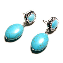 Bohemian Green Stone Egg-shaped Earrings Ladies Cute European and American Fashion Jewelry Gift
