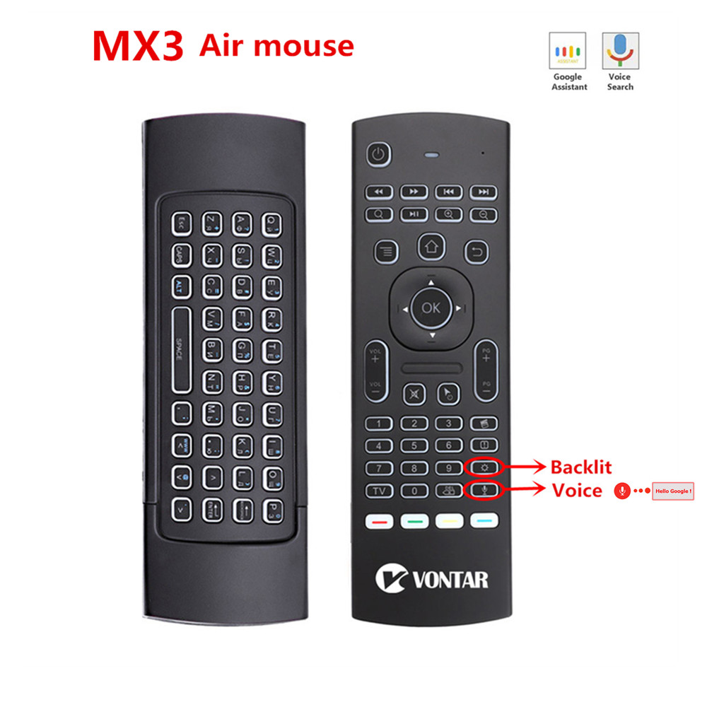 MX3 Backlit Air Mouse Smart Voice Remote Control MX3 Pro 2.4G wireless keyboard Gyro IR for Android TV Box T9 X96 mini H96 max image