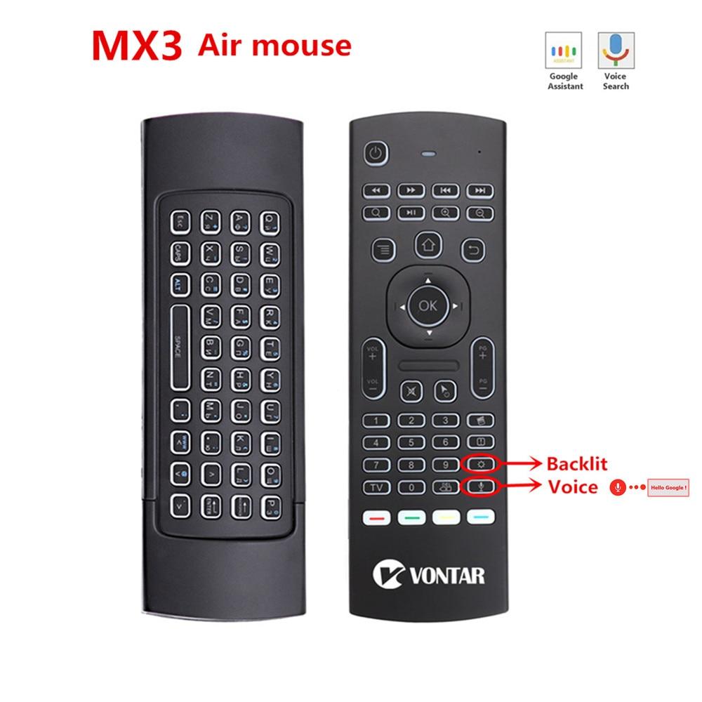 MX3 ratón de aire retroiluminado Smart Voice Control remoto MX3 Pro 2,4G teclado inalámbrico Gyro IR para Android TV Box t9 X96 mini H96.