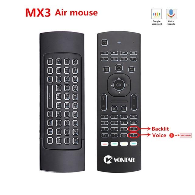 MX3 télécommande vocale intelligente 2.4G, gyroscope et infrarouge à rétroéclairage, pour Box TV Android T9 X96 mini H96 max