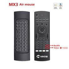 Ratón inteligente MX3 Air Mouse con retroiluminación, Control remoto por voz, teclado inalámbrico MX3 Pro 2,4G, giroscopio IR para Android TV Box T9 X96 mini H96 max