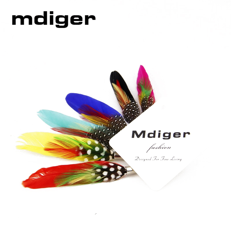 Mdiger Beautiful Brooch Safety Pin Mens Colorful Feather Brooches Wedding & Party Men Suit Women Dress Accessories Brooch