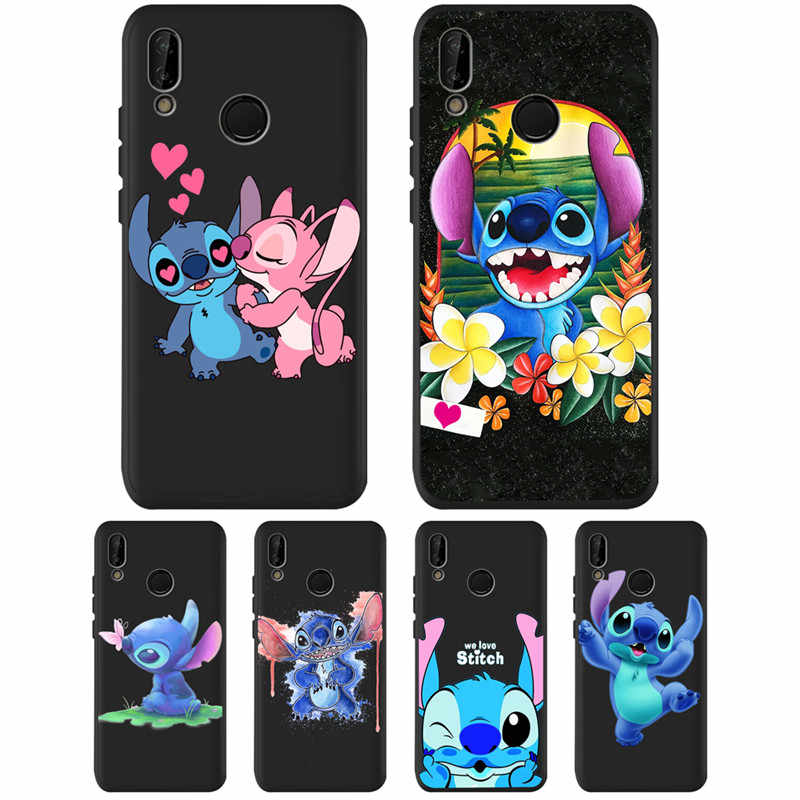 DIY untuk Huawei P8 P10 P20 P30 Mate 10 20 Honor 8 8X 8C 9 V20 20i 10 Lite PLUS pro Case Cover Coque Etui Funda Stitch Kartun