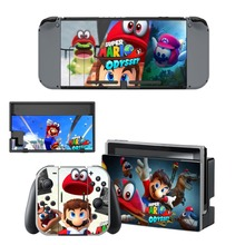 Super Mario Odyssey Decal Vinyl Skin Protector Sticker for Nintendo Switch NS Console +Controller + Stand Holder Protective Film