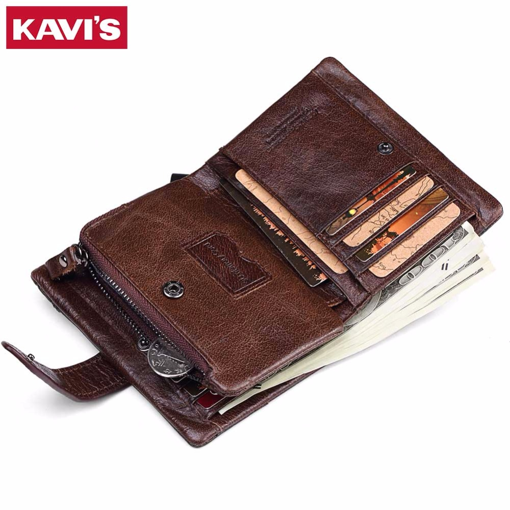 KAVIS Wallet Men Coin Purse Genuine Leather Card Holder portomonee Male Small Walet PORTFOLIO Rfid Money Bag Vallet Pocket Perse genuine leather mens wallet black hasp men purse with zipper coin pocket portfolio male short card holder vertical men wallets