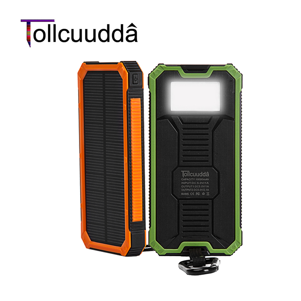 Tollcuudda Solar Poverbank Phone For Xiaomi For Iphone Power Bank Charger Battery Portable Mobile Pover Bank Powerbank 10000mah