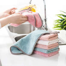 3 Pcs Super Absorbent Coral Fleece Kitchen Dish Cloth Double-layer Water Absorbing Cleaning Cloth Household Kitchen Clean Towels 1pcs nonstick oil coral velvet hanging hand towels kitchen bathroom dishclout easy to clean wash cloth magic cleaning cloth